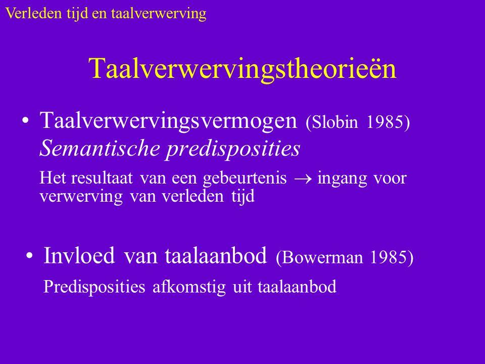 Taalverwervingstheorieën Taalverwervingsvermogen (Slobin 1985) Semantische predisposities Het resultaat van een gebeurtenis  ingang voor verwerving van verleden tijd Verleden tijd en taalverwerving Invloed van taalaanbod (Bowerman 1985) Predisposities afkomstig uit taalaanbod