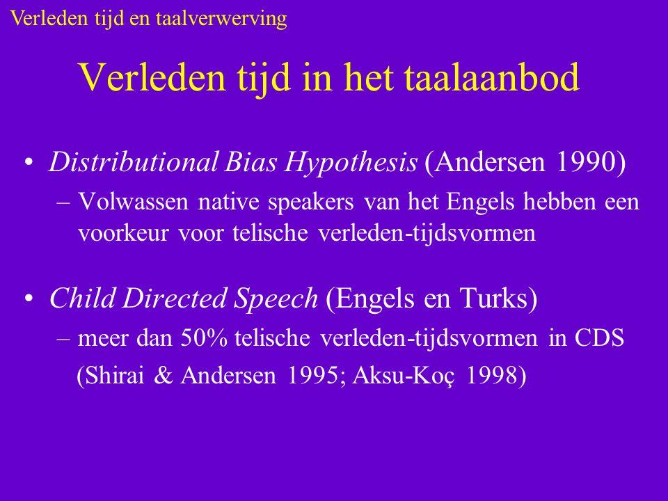 Verleden tijd in het taalaanbod Distributional Bias Hypothesis (Andersen 1990) –Volwassen native speakers van het Engels hebben een voorkeur voor telische verleden-tijdsvormen Child Directed Speech (Engels en Turks) –meer dan 50% telische verleden-tijdsvormen in CDS (Shirai & Andersen 1995; Aksu-Koç 1998) Verleden tijd en taalverwerving