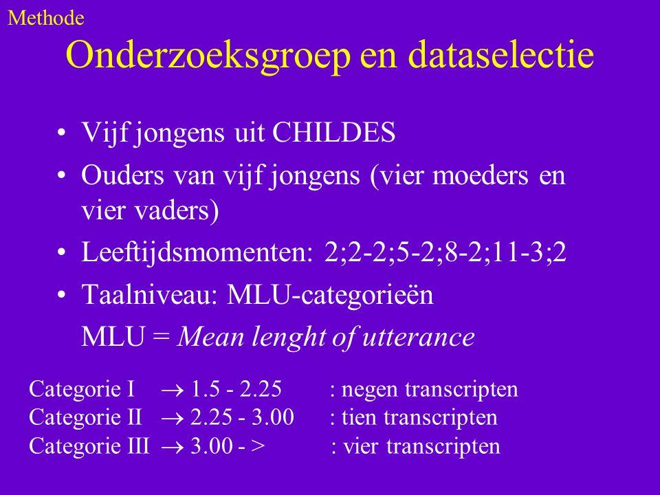 Onderzoeksgroep en dataselectie Vijf jongens uit CHILDES Ouders van vijf jongens (vier moeders en vier vaders) Leeftijdsmomenten: 2;2-2;5-2;8-2;11-3;2 Taalniveau: MLU-categorieën MLU = Mean lenght of utterance Methode Categorie I  1.5 - 2.25 : negen transcripten Categorie II  2.25 - 3.00 : tien transcripten Categorie III  3.00 - > : vier transcripten
