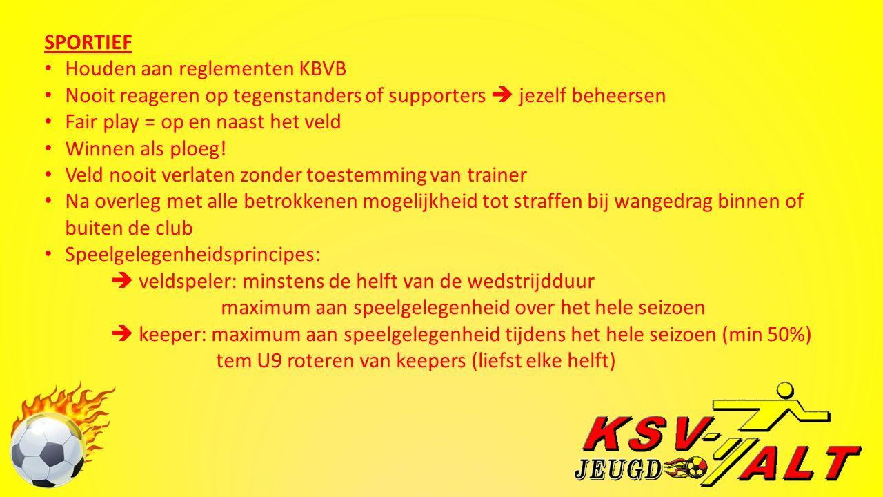 SPORTIEF Houden aan reglementen KBVB Nooit reageren op tegenstanders of supporters  jezelf beheersen Fair play = op en naast het veld Winnen als ploeg.