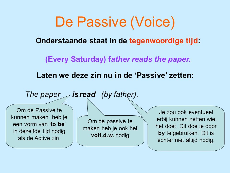 De Passive (Voice) The paper Onderstaande staat in de tegenwoordige tijd: (Every Saturday) father reads the paper. Laten we deze zin nu in de 'Passive