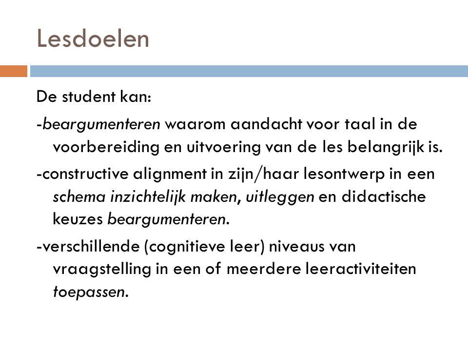 Lesdoelen De student kan: -beargumenteren waarom aandacht voor taal in de voorbereiding en uitvoering van de les belangrijk is.