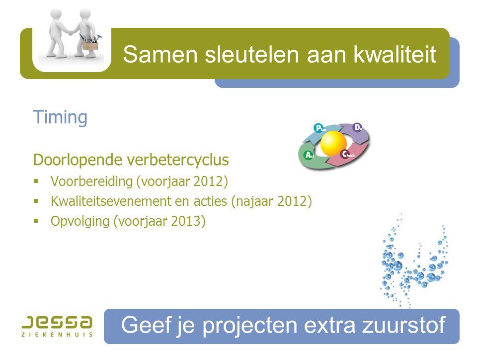 Samen sleutelen aan kwaliteit Geef je projecten extra zuurstof Timing Doorlopende verbetercyclus  Voorbereiding (voorjaar 2012)  Kwaliteitsevenement