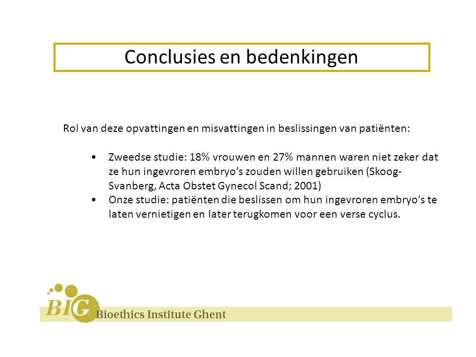 Rol van deze opvattingen en misvattingen in beslissingen van patiënten: Zweedse studie: 18% vrouwen en 27% mannen waren niet zeker dat ze hun ingevroren embryo's zouden willen gebruiken (Skoog- Svanberg, Acta Obstet Gynecol Scand; 2001) Onze studie: patiënten die beslissen om hun ingevroren embryo's te laten vernietigen en later terugkomen voor een verse cyclus.