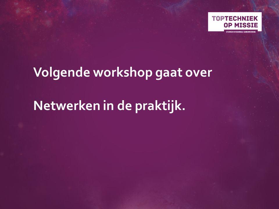 Volgende workshop gaat over Netwerken in de praktijk.