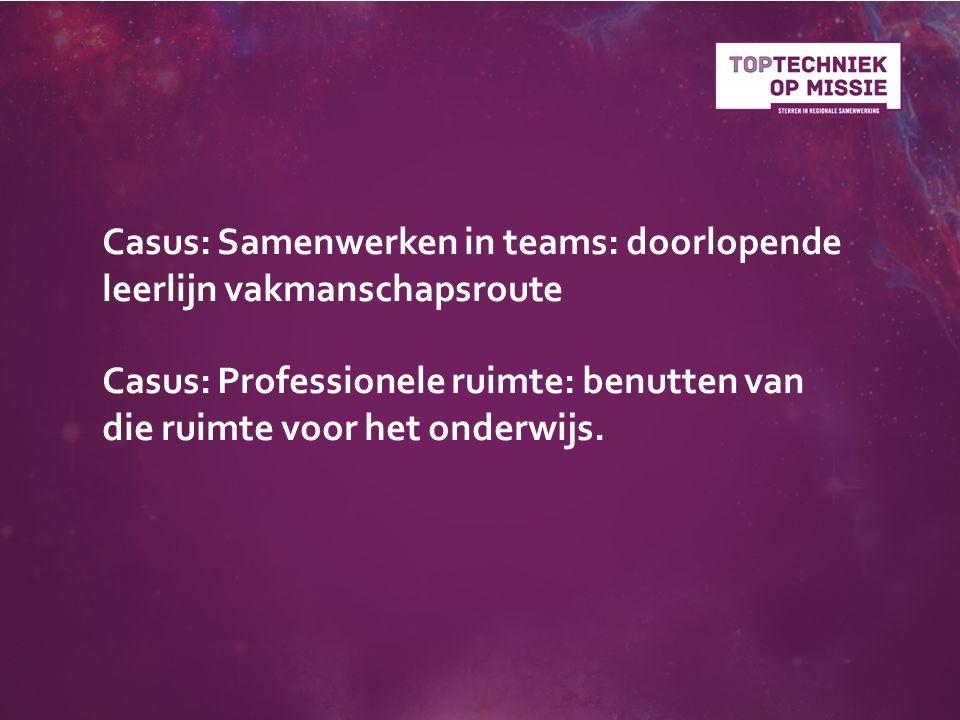 Casus: Samenwerken in teams: doorlopende leerlijn vakmanschapsroute Casus: Professionele ruimte: benutten van die ruimte voor het onderwijs.