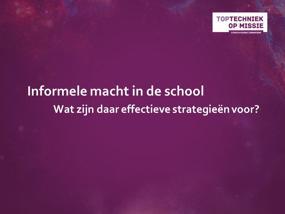 Informele macht in de school Wat zijn daar effectieve strategieën voor