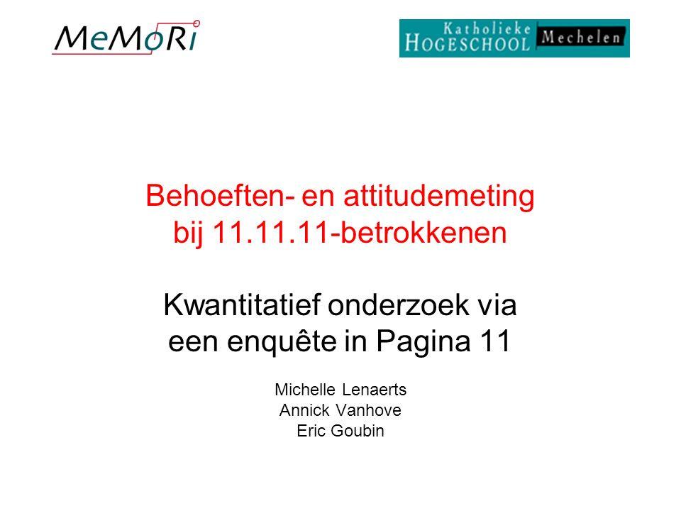 Behoeften- en attitudemeting bij 11.11.11-betrokkenen Kwantitatief onderzoek via een enquête in Pagina 11 Michelle Lenaerts Annick Vanhove Eric Goubin