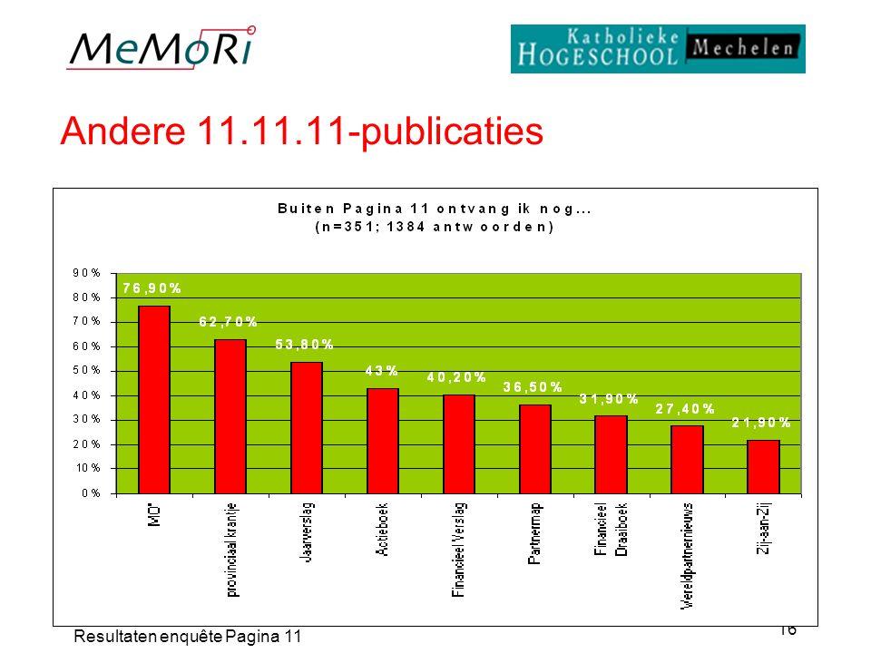 Resultaten enquête Pagina 11 16 Andere 11.11.11-publicaties