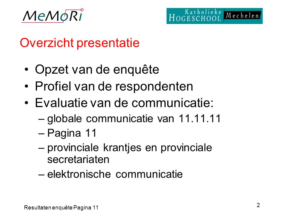Resultaten enquête Pagina 11 2 Overzicht presentatie Opzet van de enquête Profiel van de respondenten Evaluatie van de communicatie: –globale communic