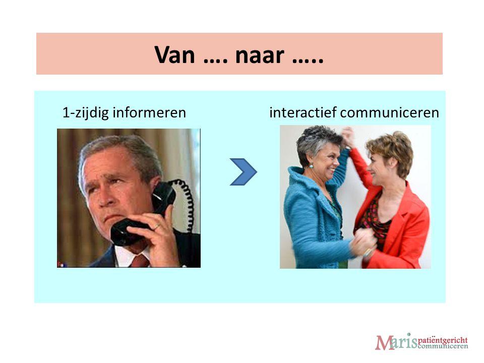 Van …. naar ….. 1-zijdig informeren interactief communiceren