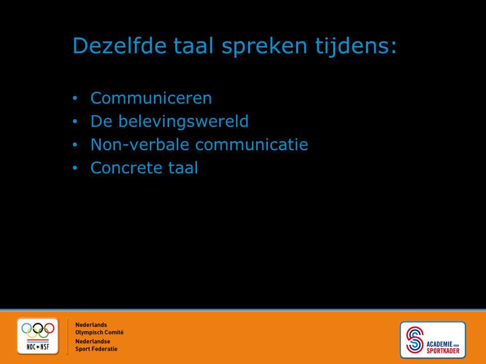 Dezelfde taal spreken tijdens: Communiceren De belevingswereld Non-verbale communicatie Concrete taal