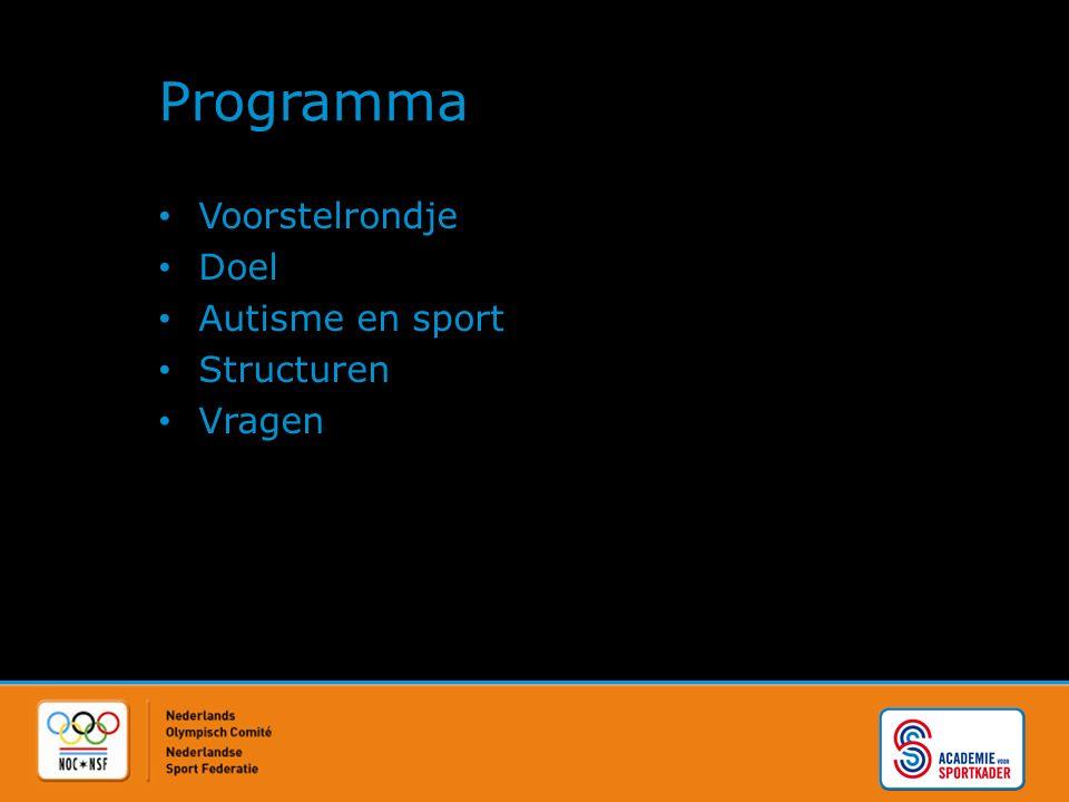 Programma Voorstelrondje Doel Autisme en sport Structuren Vragen
