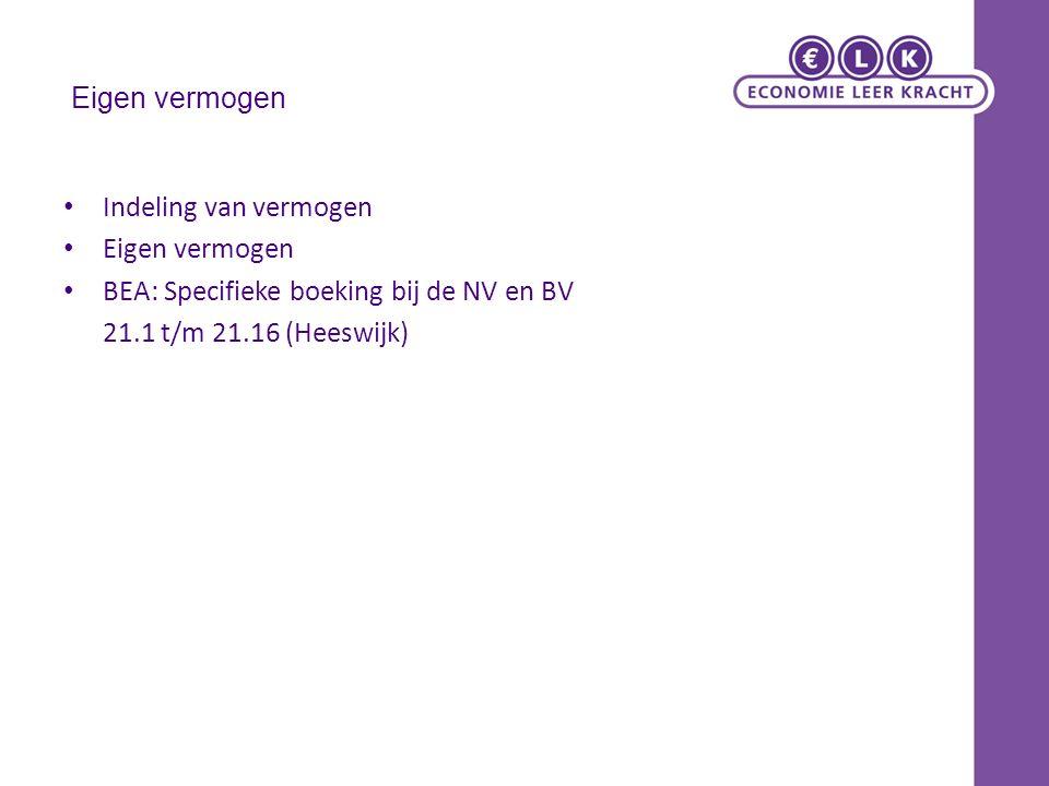 Eigen vermogen Indeling van vermogen Eigen vermogen BEA: Specifieke boeking bij de NV en BV 21.1 t/m 21.16 (Heeswijk)