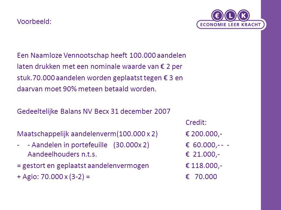 Voorbeeld: Een Naamloze Vennootschap heeft 100.000 aandelen laten drukken met een nominale waarde van € 2 per stuk.70.000 aandelen worden geplaatst tegen € 3 en daarvan moet 90% meteen betaald worden.