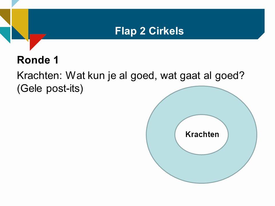 Flap 2 Cirkels Ronde 1 Krachten: Wat kun je al goed, wat gaat al goed (Gele post-its) Krachten