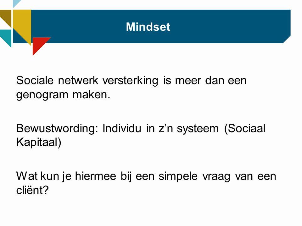 Mindset Sociale netwerk versterking is meer dan een genogram maken.