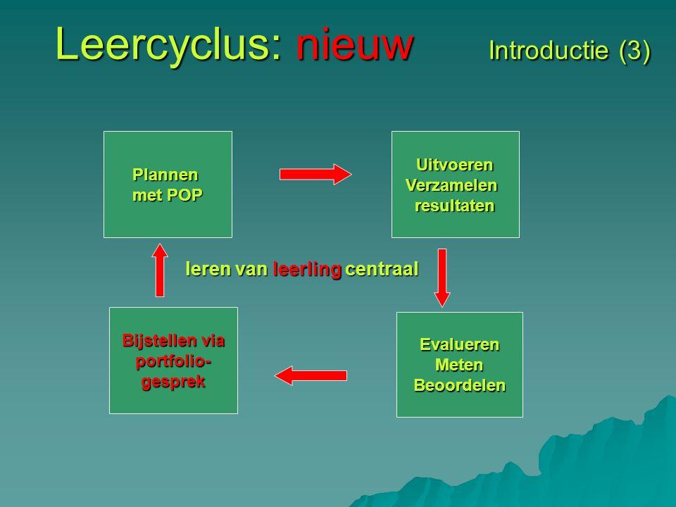 Leercyclus: nieuw Introductie (3) Plannen met POP UitvoerenVerzamelenresultaten Bijstellen via portfolio-gesprek EvaluerenMetenBeoordelen leren van leerling centraal