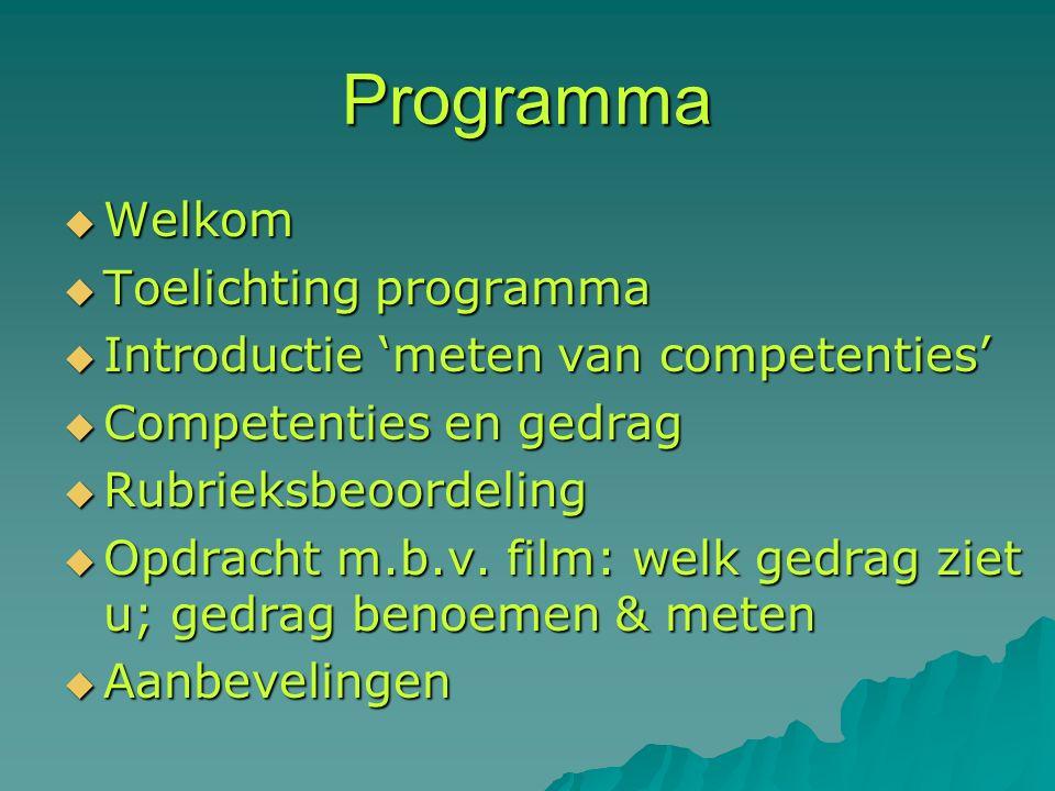 Programma  Welkom  Toelichting programma  Introductie 'meten van competenties'  Competenties en gedrag  Rubrieksbeoordeling  Opdracht m.b.v.