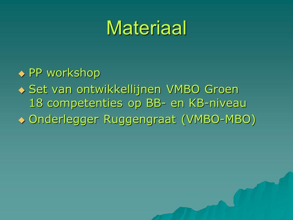 Materiaal  PP workshop  Set van ontwikkellijnen VMBO Groen 18 competenties op BB- en KB-niveau  Onderlegger Ruggengraat (VMBO-MBO)