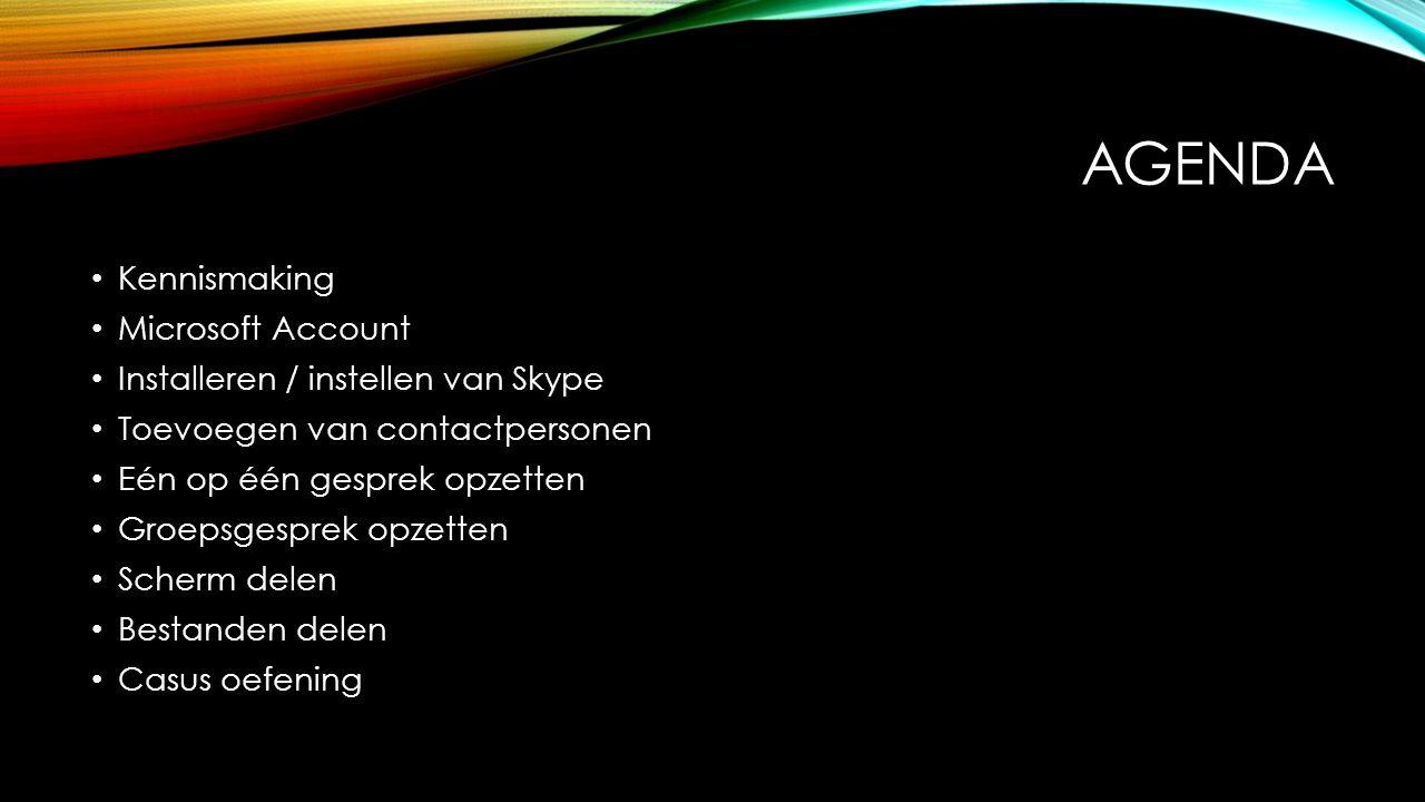 SKYPE INSTALLEREN Downloaden van de software https://www.skype.com/nl/download-skype/skype-for-computer/