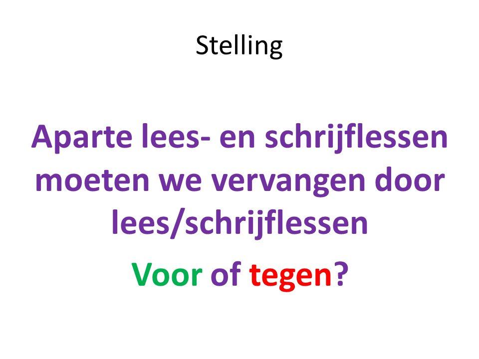 Stelling Aparte lees- en schrijflessen moeten we vervangen door lees/schrijflessen Voor of tegen?