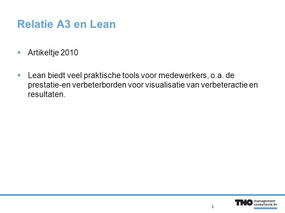 Relatie A3 en Lean  Artikeltje 2010  Lean biedt veel praktische tools voor medewerkers, o.a.