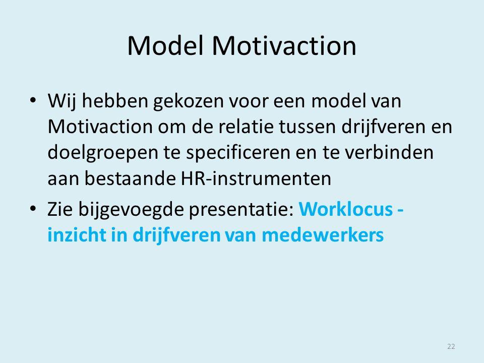 Model Motivaction Wij hebben gekozen voor een model van Motivaction om de relatie tussen drijfveren en doelgroepen te specificeren en te verbinden aan bestaande HR-instrumenten Zie bijgevoegde presentatie: Worklocus - inzicht in drijfveren van medewerkers 22