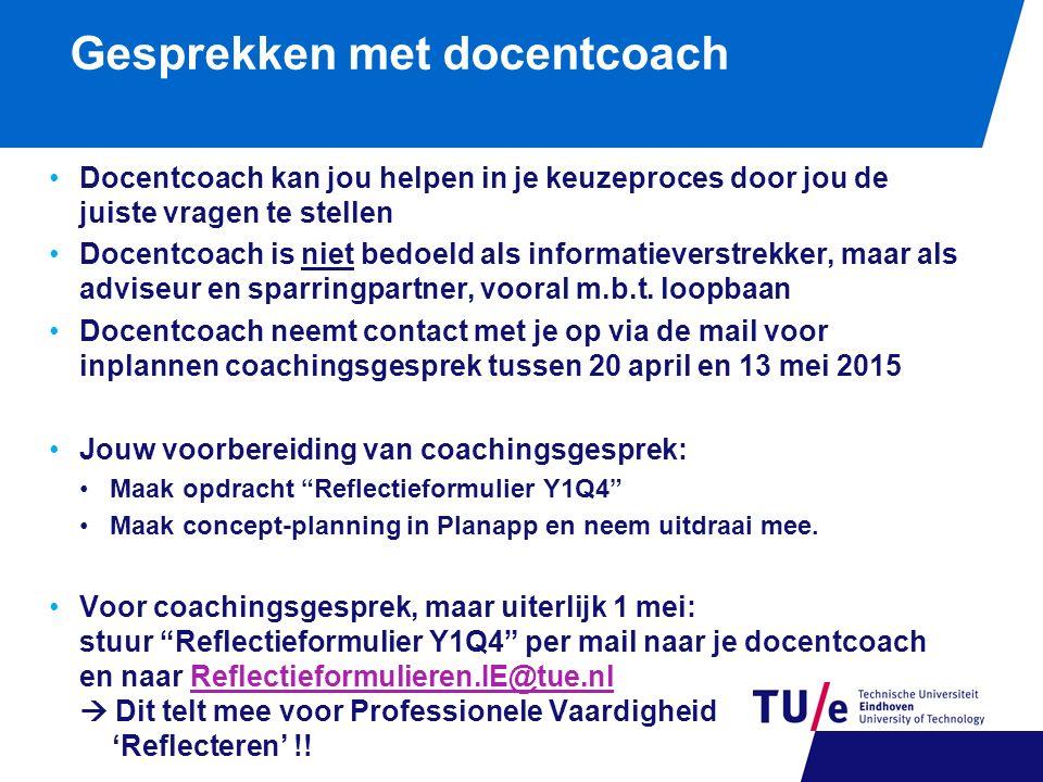 Gesprekken met docentcoach Docentcoach kan jou helpen in je keuzeproces door jou de juiste vragen te stellen Docentcoach is niet bedoeld als informati