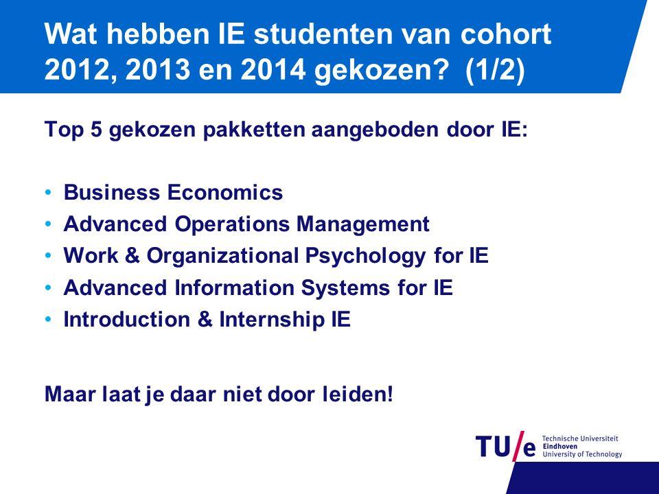 Wat hebben IE studenten van cohort 2012, 2013 en 2014 gekozen? (1/2) Top 5 gekozen pakketten aangeboden door IE: Business Economics Advanced Operation