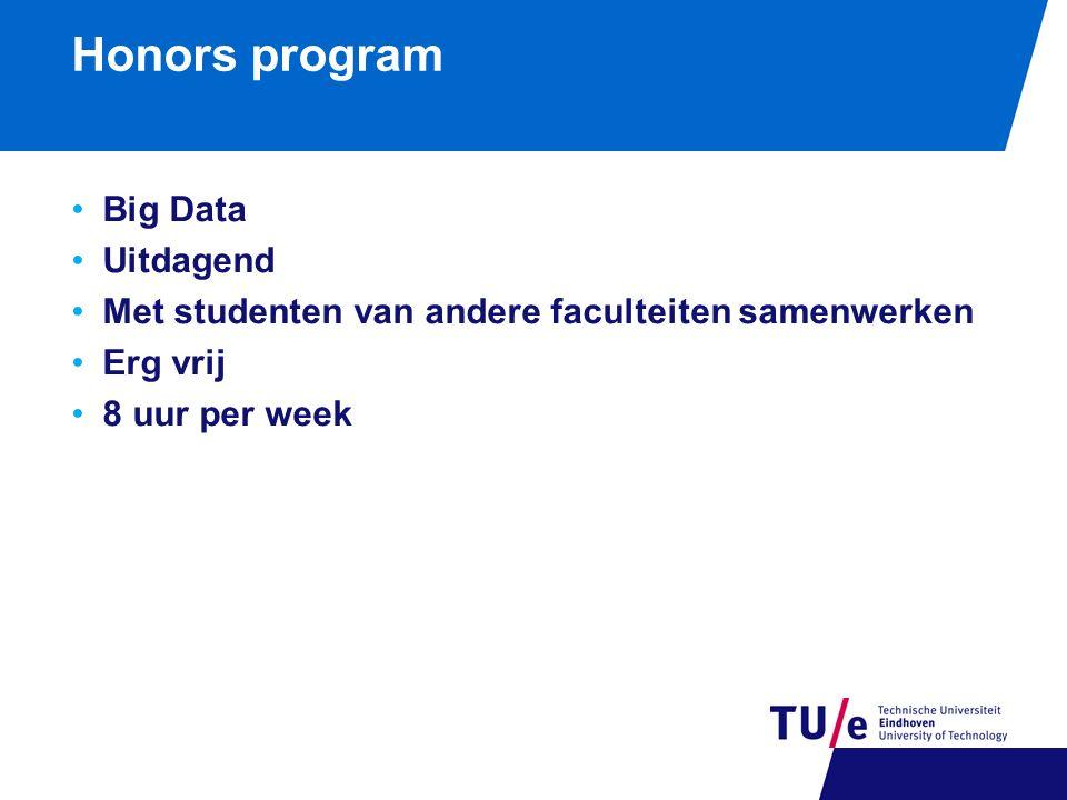 Honors program Big Data Uitdagend Met studenten van andere faculteiten samenwerken Erg vrij 8 uur per week