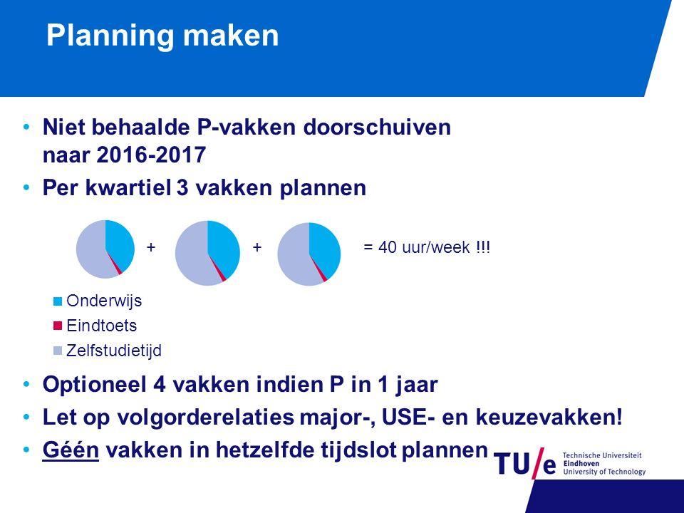 Planning maken Niet behaalde P-vakken doorschuiven naar 2016-2017 Per kwartiel 3 vakken plannen Optioneel 4 vakken indien P in 1 jaar Let op volgorder