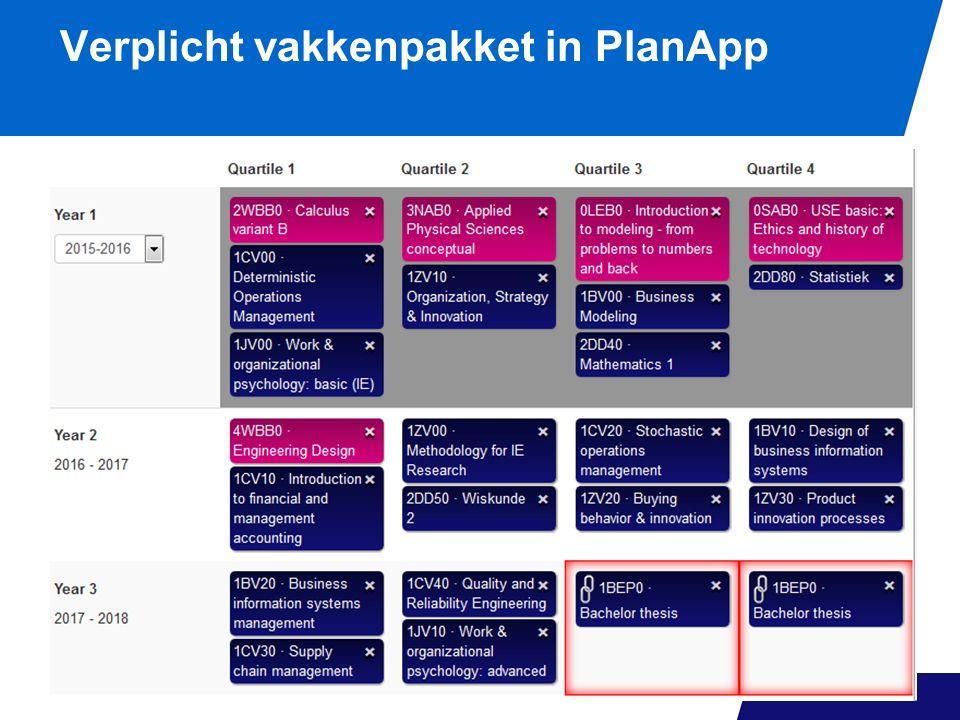 Verplicht vakkenpakket in PlanApp