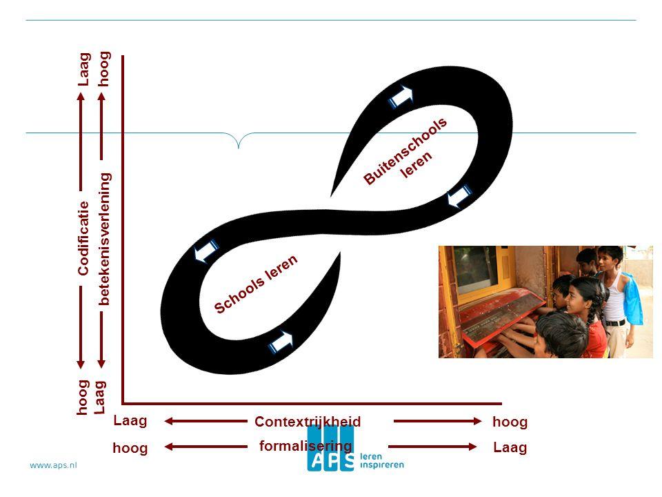 Contextrijkheid Laag hoog formalisering hoog Laag betekenisverlening Codificatie hoog Laag Schools leren Buitenschools leren