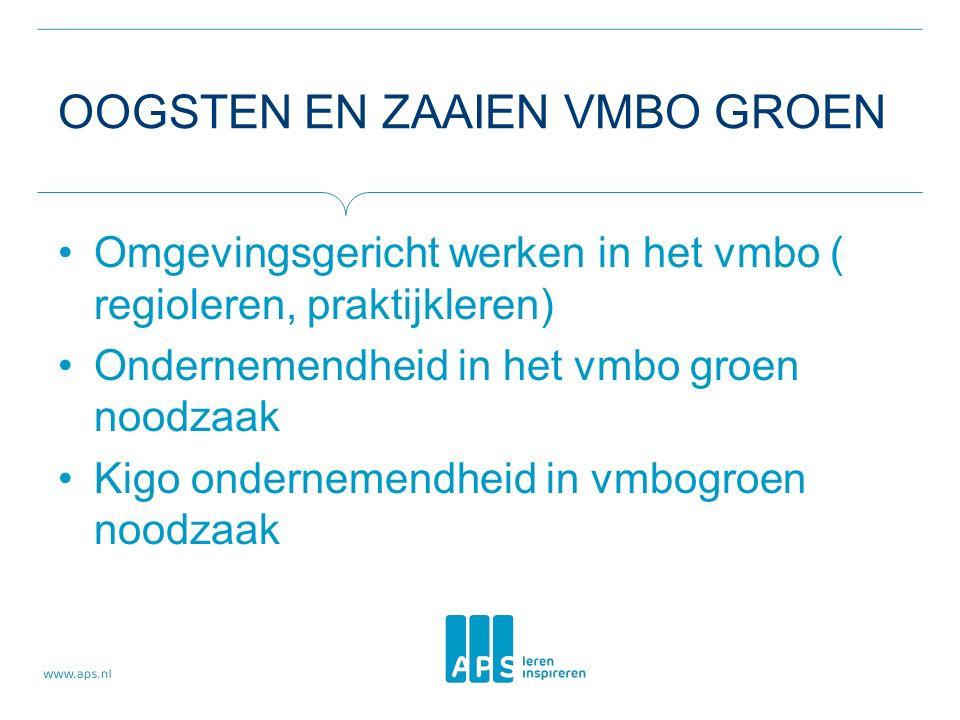 OOGSTEN EN ZAAIEN VMBO GROEN Omgevingsgericht werken in het vmbo ( regioleren, praktijkleren) Ondernemendheid in het vmbo groen noodzaak Kigo ondernemendheid in vmbogroen noodzaak