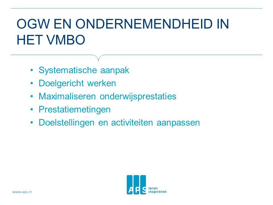 OGW EN ONDERNEMENDHEID IN HET VMBO Systematische aanpak Doelgericht werken Maximaliseren onderwijsprestaties Prestatiemetingen Doelstellingen en activiteiten aanpassen