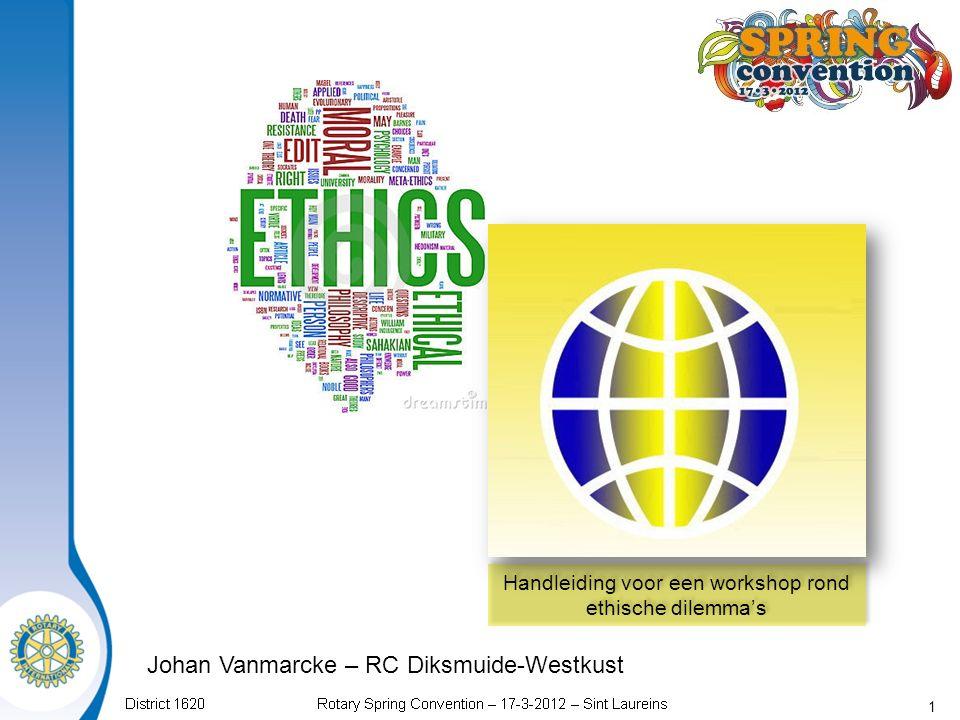 1 Handleiding voor een workshop rond ethische dilemma's Johan Vanmarcke – RC Diksmuide-Westkust