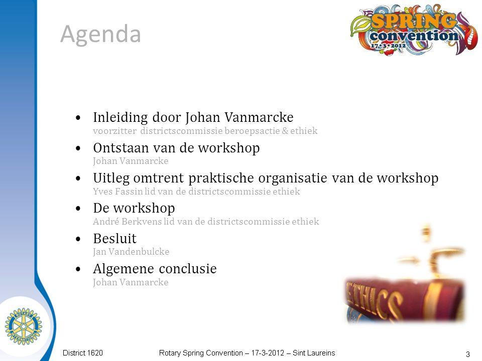 Agenda 3 Inleiding door Johan Vanmarcke voorzitter districtscommissie beroepsactie & ethiek Ontstaan van de workshop Johan Vanmarcke Uitleg omtrent pr