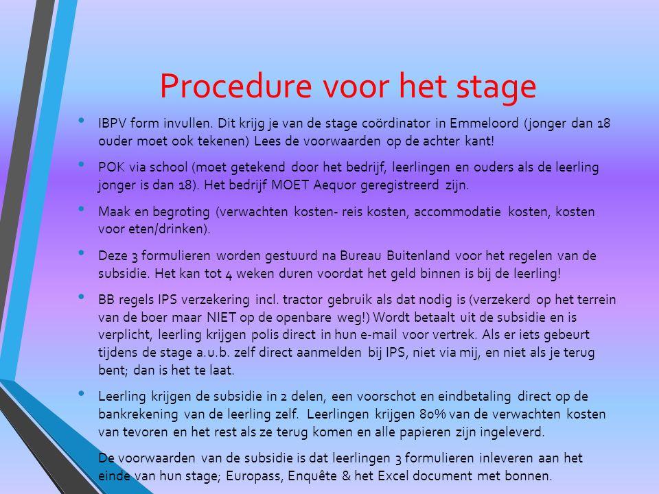 Procedure voor het stage IBPV form invullen.