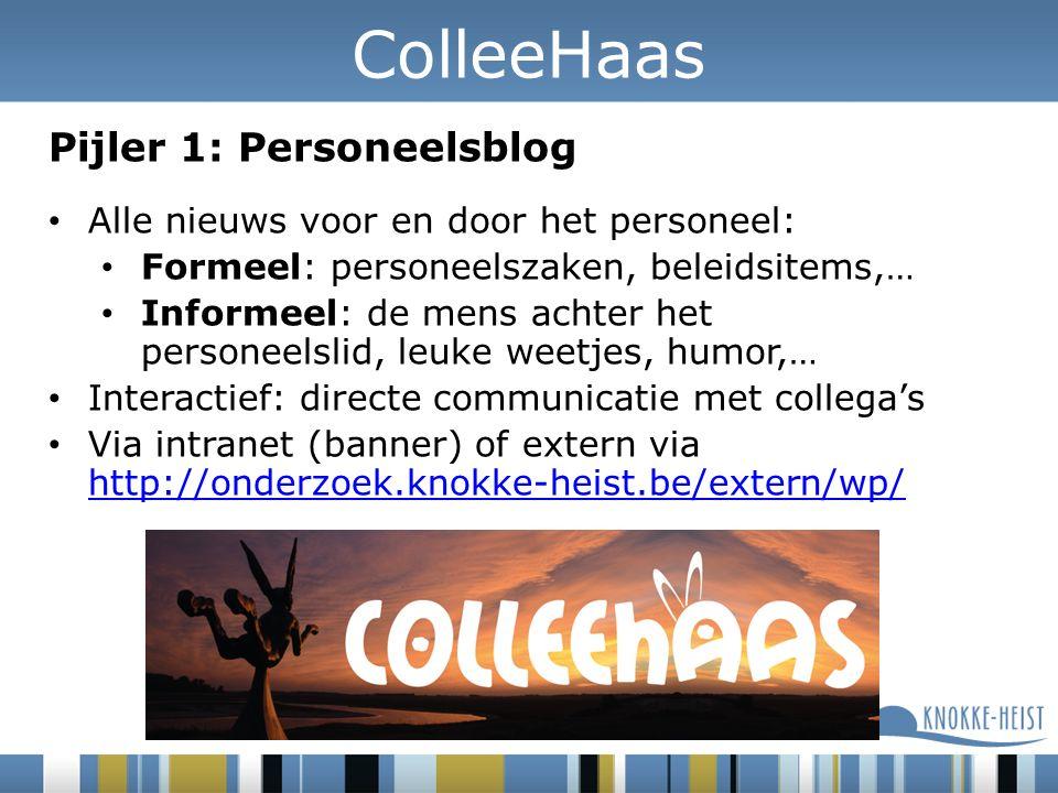 Pijler 1: Personeelsblog Alle nieuws voor en door het personeel: Formeel: personeelszaken, beleidsitems,… Informeel: de mens achter het personeelslid, leuke weetjes, humor,… Interactief: directe communicatie met collega's Via intranet (banner) of extern via http://onderzoek.knokke-heist.be/extern/wp/ http://onderzoek.knokke-heist.be/extern/wp/ ColleeHaas