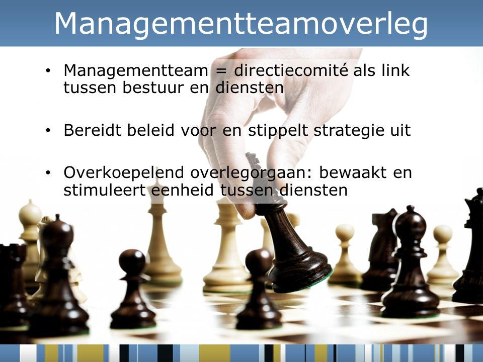 Managementteamoverleg Managementteam = directiecomité als link tussen bestuur en diensten Bereidt beleid voor en stippelt strategie uit Overkoepelend overlegorgaan: bewaakt en stimuleert eenheid tussen diensten