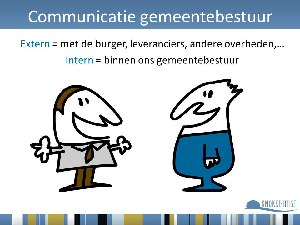 Communicatie gemeentebestuur Extern = met de burger, leveranciers, andere overheden,… Intern = binnen ons gemeentebestuur