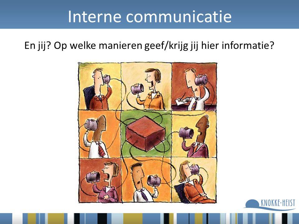 Interne communicatie En jij? Op welke manieren geef/krijg jij hier informatie?