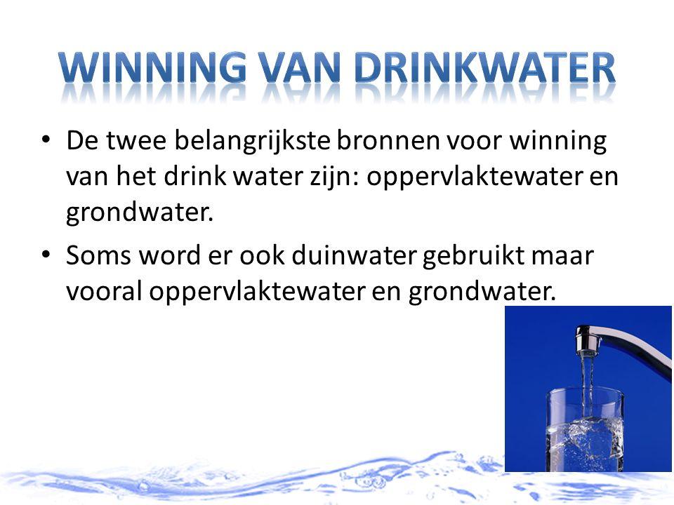 De twee belangrijkste bronnen voor winning van het drink water zijn: oppervlaktewater en grondwater. Soms word er ook duinwater gebruikt maar vooral o