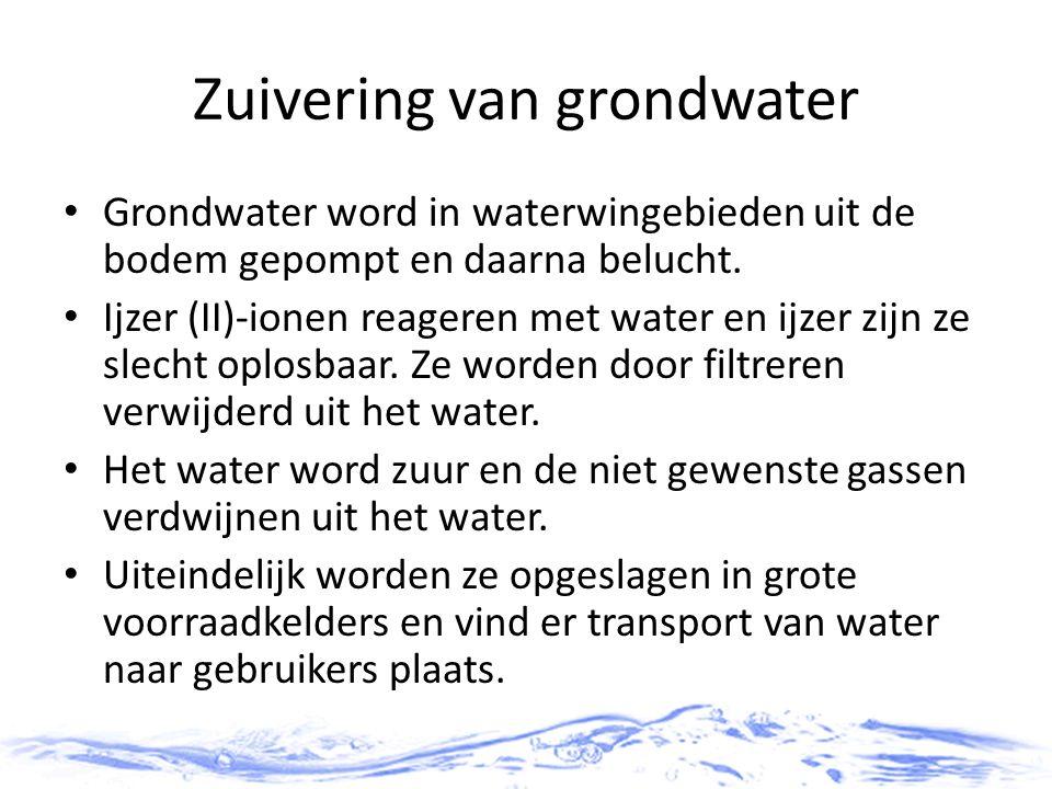 Zuivering van grondwater Grondwater word in waterwingebieden uit de bodem gepompt en daarna belucht. Ijzer (II)-ionen reageren met water en ijzer zijn