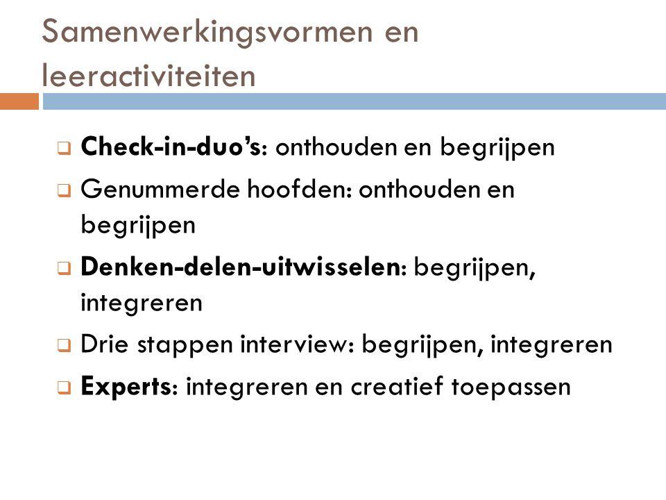 Samenwerkingsvormen en leeractiviteiten  Check-in-duo's: onthouden en begrijpen  Genummerde hoofden: onthouden en begrijpen  Denken-delen-uitwisselen: begrijpen, integreren  Drie stappen interview: begrijpen, integreren  Experts: integreren en creatief toepassen