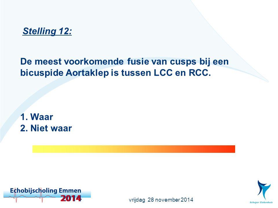 vrijdag 28 november 2014 Stelling 12: De meest voorkomende fusie van cusps bij een bicuspide Aortaklep is tussen LCC en RCC.