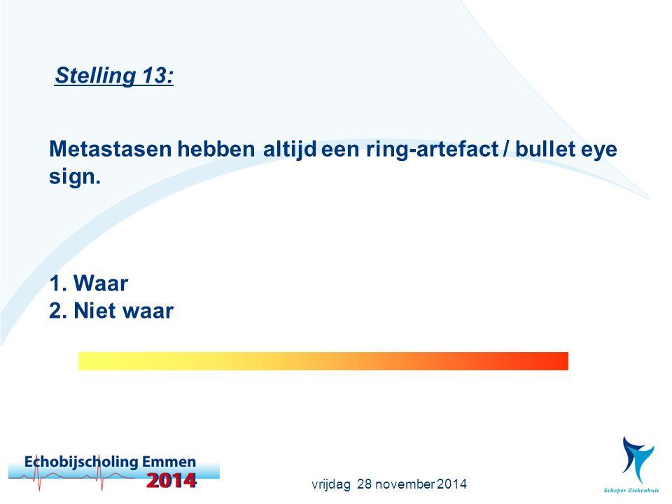 vrijdag 28 november 2014 Stelling 13: Metastasen hebben altijd een ring-artefact / bullet eye sign.