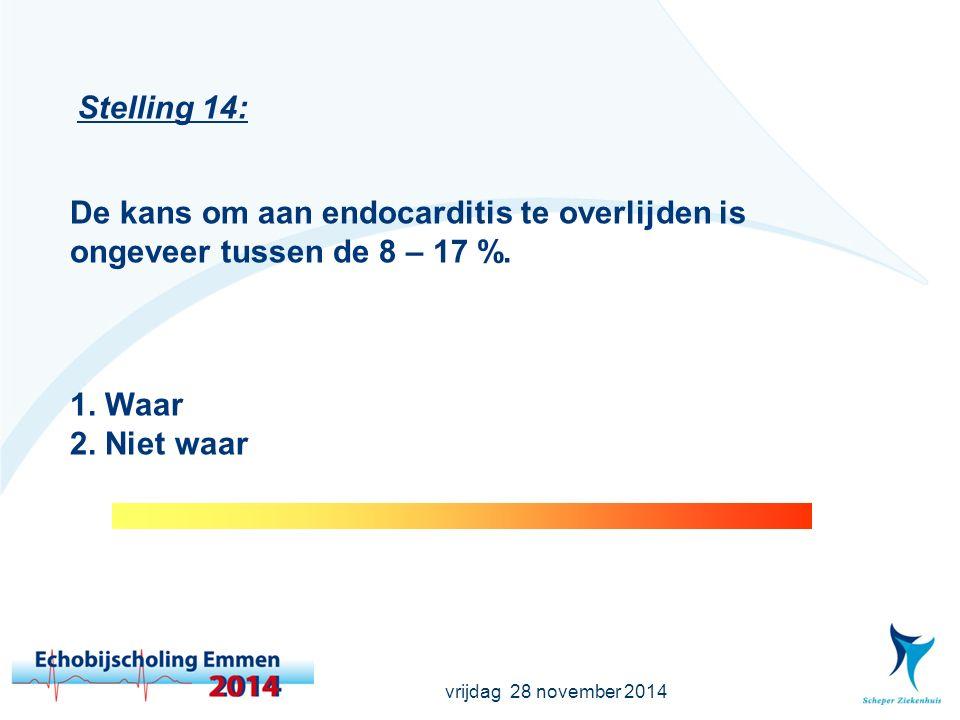 vrijdag 28 november 2014 Stelling 14: De kans om aan endocarditis te overlijden is ongeveer tussen de 8 – 17 %.