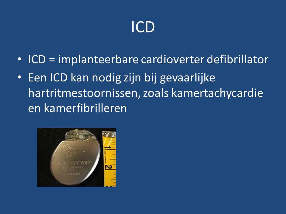 ICD ICD = implanteerbare cardioverter defibrillator Een ICD kan nodig zijn bij gevaarlijke hartritmestoornissen, zoals kamertachycardie en kamerfibrilleren